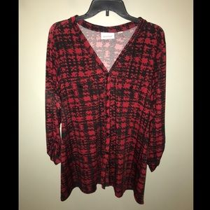 Red and black houndstooth blouse!